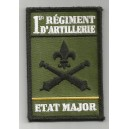 Insigne velcro rectangulaire 1er Régiment d'Artillerie - Etat-Major